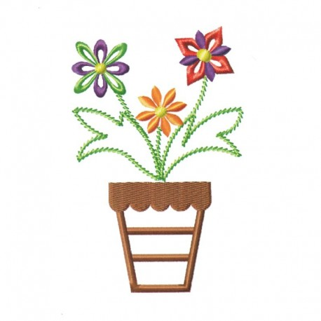 Stickdatei Blumentopf