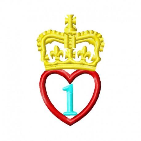1 Jahr Herz mit Krone