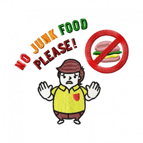 Stickdatei No Junk Food Please
